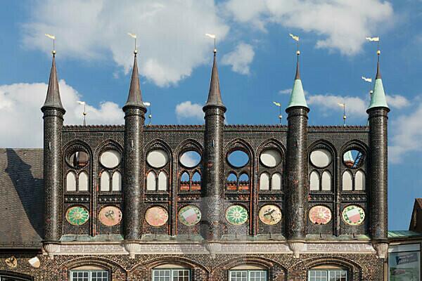 Decoration facade, city hall, Lübeck, Schleswig Holstein, Germany