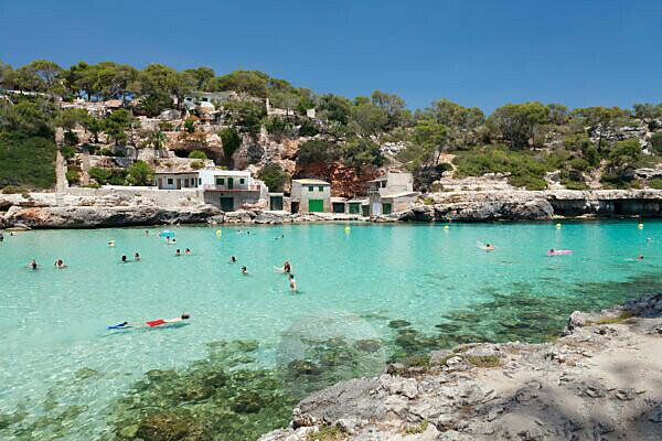 Bay and beach Cala Llombards, Santanyi, east coast, Majorca, the Balearic Islands, Spain