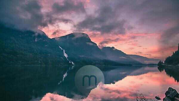 Sonnenuntergang am Lysefjord, Ryfylke, Provinz Rogaland, Norwegen, Skandinavien