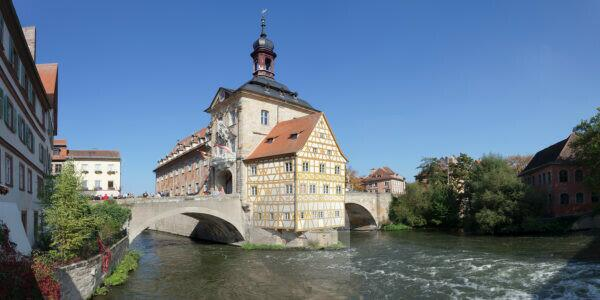 Old city hall, UNESCO world cultural heritage, Regnitz, Bamberg, Franconia, Bavaria, Germany