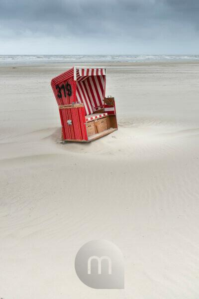 Germany, Lower Saxony, Eastern Friesland, beach chair on the East Frisian island Langeoog.