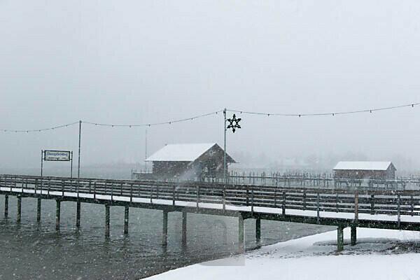 Steamboat bridge in winter