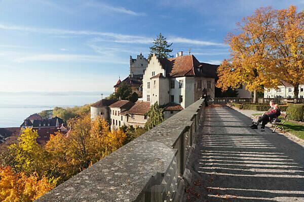 Aussichtsterrasse am neuen Schloss, Meersburg, Bodensee, Baden-Württemberg, Deutschland