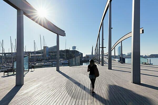 Port Vell mit Rambla del Mar, Barcelona, Katalonien, Spanien