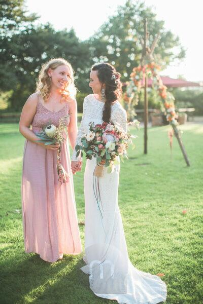 Bride and witness at alternative wedding outside
