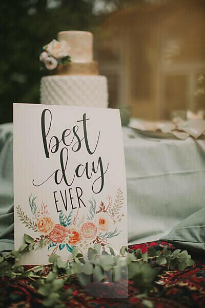 Congratulation sign and wedding cake at alternative wedding celebration, close up