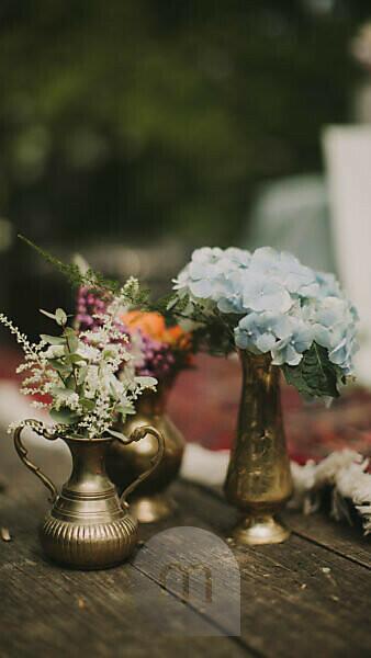 Floral decoration at alternative wedding celebration, close up