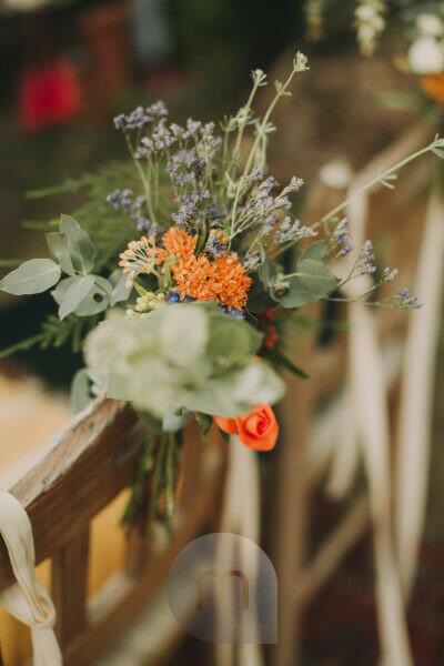 Alternative wedding, decoration, chair, flowers, medium close-up