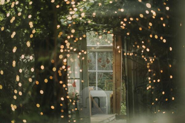 Alternative wedding, garden shed, strings of lights