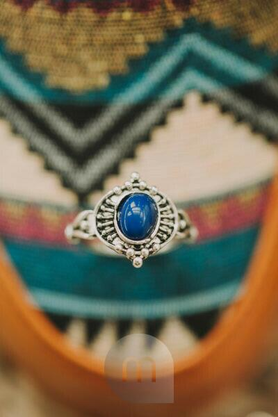Indian pattern, silver ring, close up