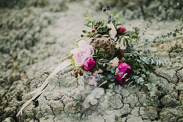 Blumenstrauß, Erde, Trockenrisse,