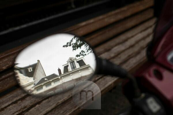 The Netherlands, Holland, Amsterdam, rear-view mirror, motorbike, reflexions,