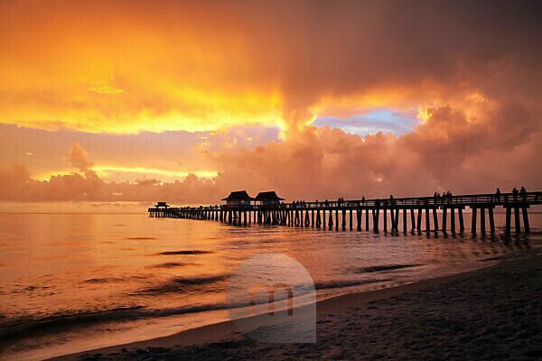 Florida, Naples, Strand, Pier, Sonnenuntergang