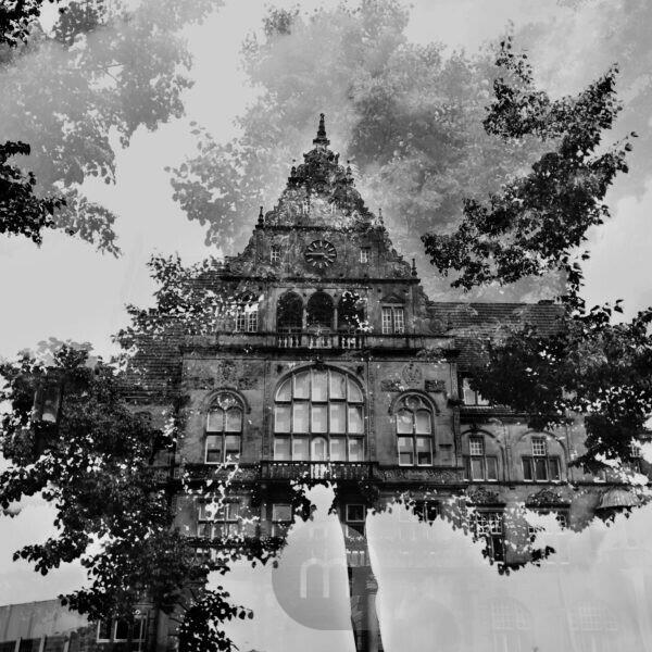 The Old Town Hall in Bielefeld, artistical photographed with the help of double exposure,