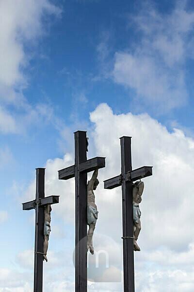 Crucifixion group on the Kreuzberg (928 m altitude), Asenberg, Aschberg, Germany, Bavaria, Hohe Rhön in the Bavarian Rhön Nature Park, Biosphere Reserve Rhön,