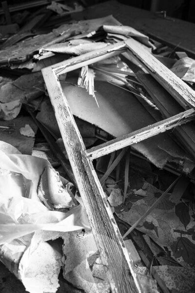 Detail of a rubble pile in an abandoned building,