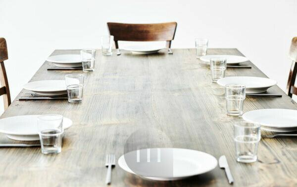 laid table, plate, cutlery and glasses