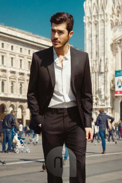 Fashion Editorial, Man in front of Duomo di Milano