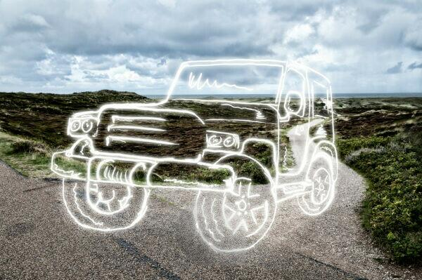 light drawing of a sport utility vehicle on a country road,