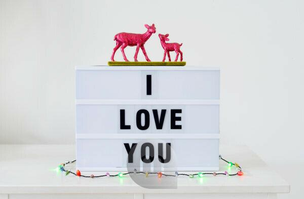 sign, Lightbox, I love you, Deer, chain of lights,