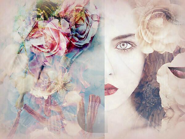 photomontage, woman, flowers, detail,