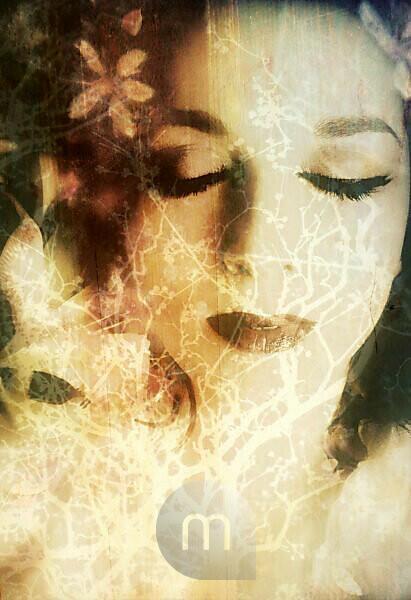 photomontage, woman, blossoms, trees, detail, sepia,