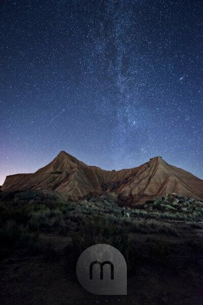 Nachts mit Milchstraße in der Wüste Bardena Reales, Navarra, Spanien