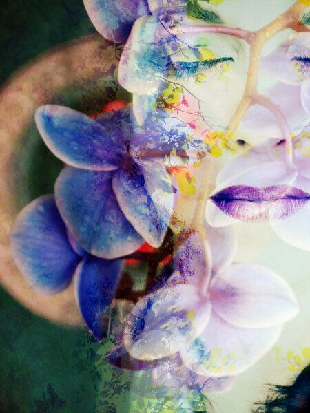 Photomontage, woman, flowers, trees, detail,