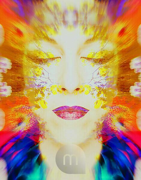 Photomontage, woman's face, leaves, detail, blur