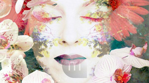 Photomontage, woman's face, branches, leaves, flowers, detail,