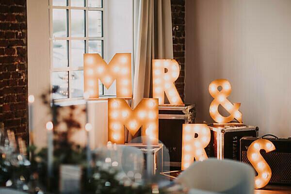 Wedding decoration, letters, MR & MRS, shine