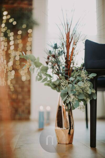 Decoration, floor vase, eucalyptus branches,