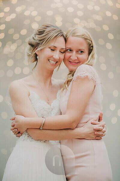 Wedding, bride, maid of honor, hug,