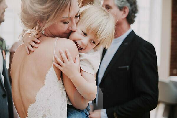 Wedding, bride and boy, hug,