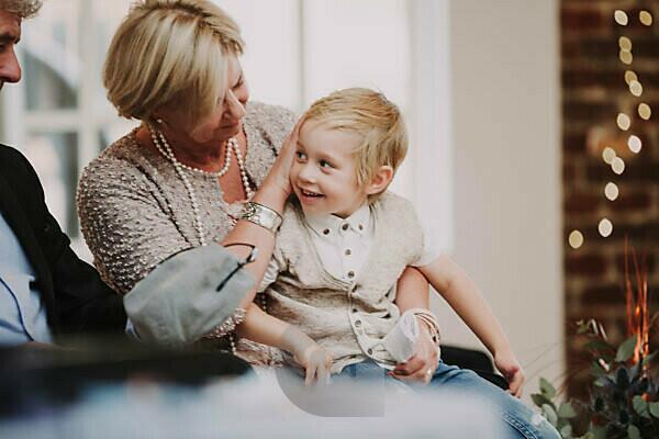 Grandparents, boy, lap, sitting,