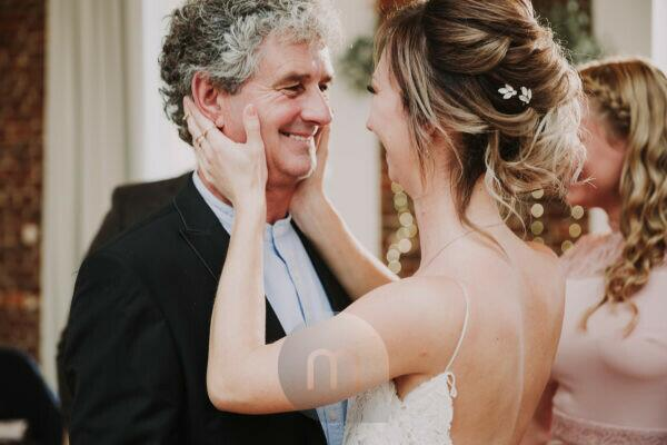 Wedding, bride and senior, hug,