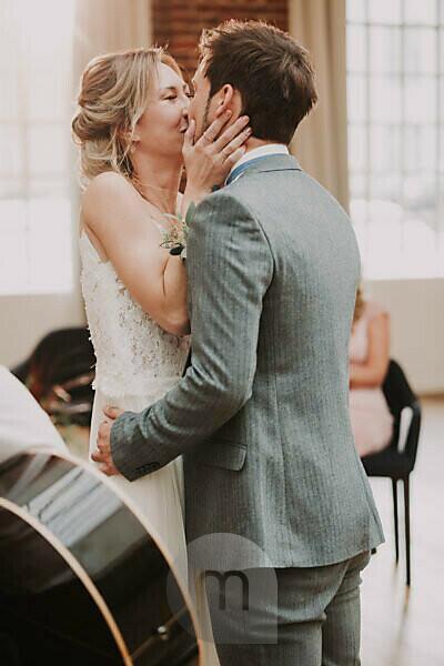 Happy bridal couple, hug, kiss,