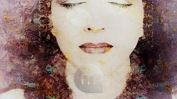 Composing, portrait of a woman, plants, detail,
