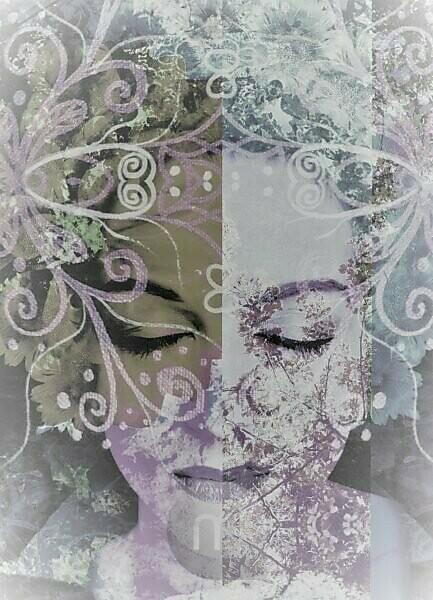 Composing, portrait of a woman, ornaments, detail,
