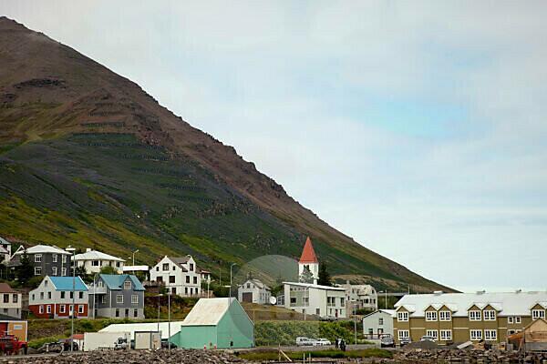 Houses, mountain, Iceland, Siglufjördur