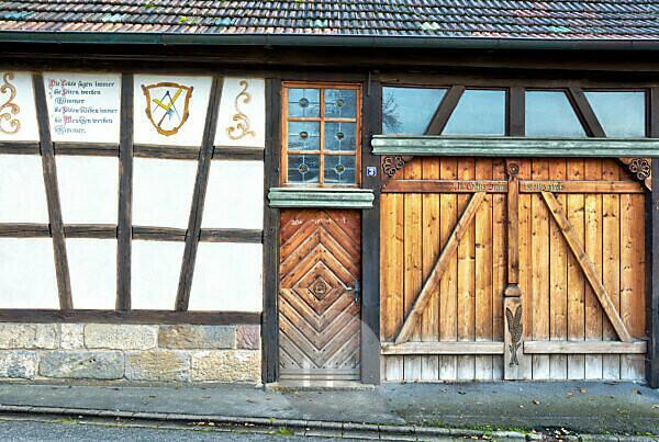 House facade, wooden facade, Bad Staffelstein, Franconia, Bavaria, Germany, Europe,