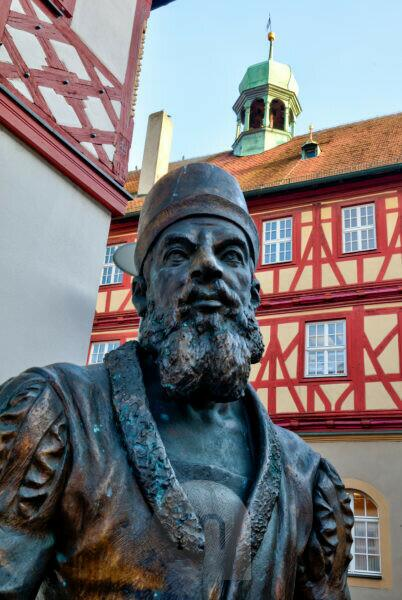 Adam Riese Monument by Andreas Krämer, Facade, Alley, Old Town, Bad Staffelstein, Franconia, Bavaria, Germany, Europe,