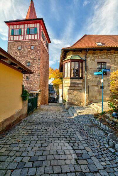 Red Tower, House Facade, Alley, Old Town, Autumn, Kulmbach, Upper Franconia, Bavaria, Germany, Europe