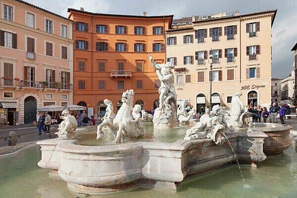 Neptunbrunnen, Fontana del Nettuno, Piazza Navona, Rom, Latium, Italien