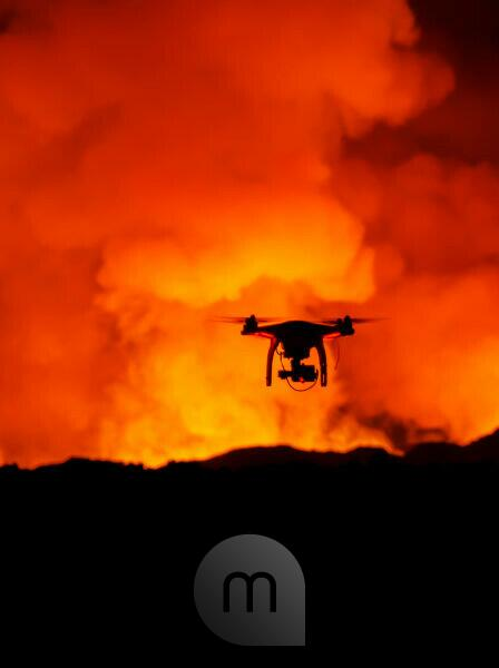 DJI Phantom 2 with GoPro, flying by the Holuhraun Fissure Eruption. August 29, 2014 a fissure eruption started in Holuhraun at the northern end of a magma intrusion, which had moved progressively north, from the Bardarbunga volcano. Bardarbunga is a stratovolcano located under Vatnajokull, Iceland's most extensive glacier, picture Date Sept. 20, 2014