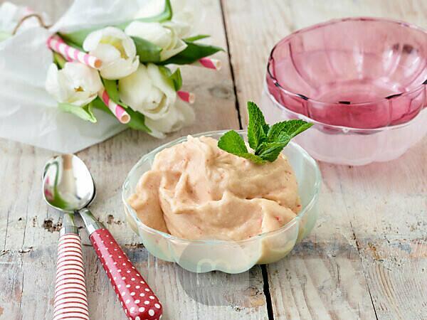 Iced rhubarb sorbet