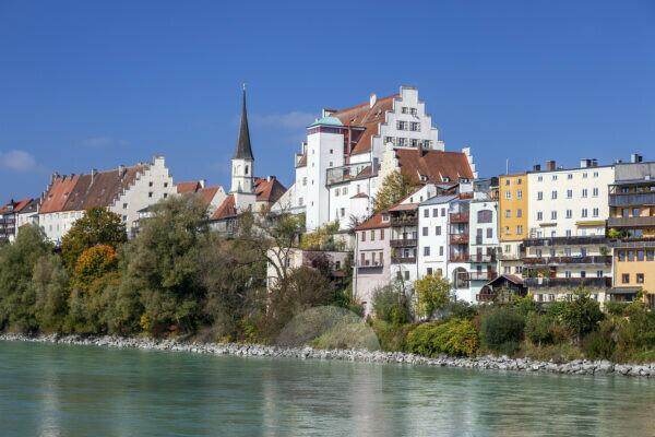 View of the old town of Wasserburg am Inn, Upper Bavaria, Bavaria, southern Germany, Germany, Europe