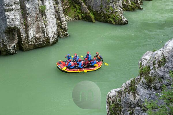 Rafting in the Entenlochklamm near Schleching, Chiemgau, Upper Bavaria, Southern Germany, Germany, Europe