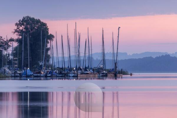 Port in Übersee at Chiemsee, Chiemgau, Upper Bavaria, Bavaria, Southern Germany, Germany, Europe
