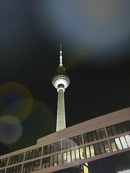Germany, Berlin, Alexanderplatz, TV tower at night